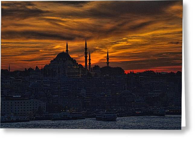 Istanbul Greeting Cards - Istanbul Sunset - A Call to Prayer Greeting Card by David Smith