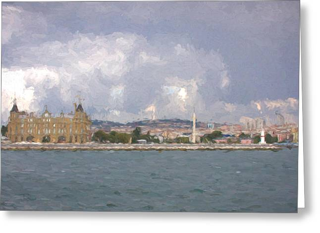 Istanbul Mixed Media Greeting Cards - Istanbul Train Station Greeting Card by Roberto Giobbi