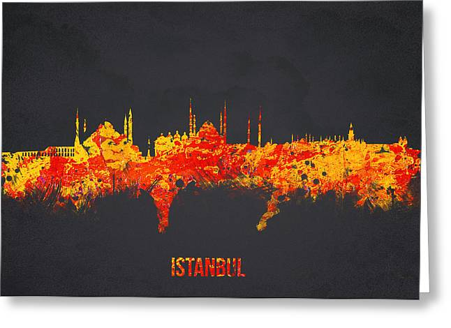 Culture Mixed Media Greeting Cards - Istanbul Turkey Greeting Card by Aged Pixel