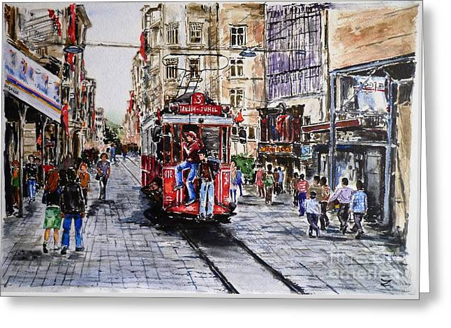 Istiklal Street Greeting Card by Zaira Dzhaubaeva