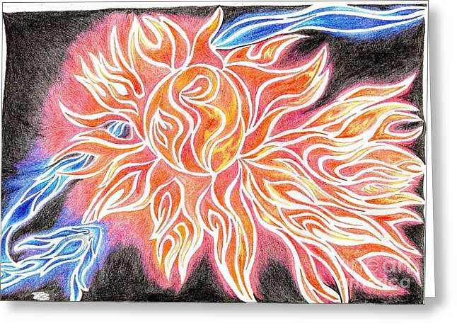 Glowing Drawings Greeting Cards - iSun Electric Glowing Sun Rays Abstract Drawing Design Greeting Card by Minding My  Visions by Adri and Ray
