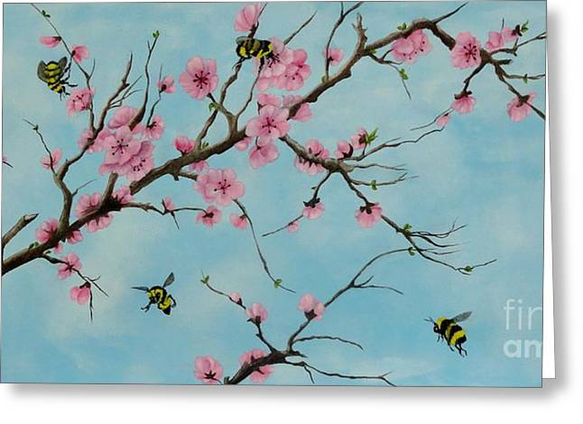 Cherry Blossoms Paintings Greeting Cards - It Bee Spring Greeting Card by Carol Avants