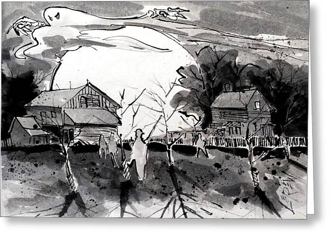 """""""haunted House"""" Drawings Greeting Cards - It Happened At Klingle Farm Greeting Card by Larry Lerew"""
