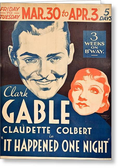 Colbert Greeting Cards - It Happened One Night - 1934 Greeting Card by Nomad Art And  Design