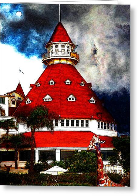 The American Dream Digital Art Greeting Cards - It Happened One Night At The Old Del Coronado 5D24270 Stylized Long Greeting Card by Wingsdomain Art and Photography