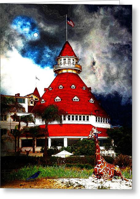 The American Dream Digital Art Greeting Cards - It Happened One Night At The Old Del Coronado 5D24270 Stylized Greeting Card by Wingsdomain Art and Photography