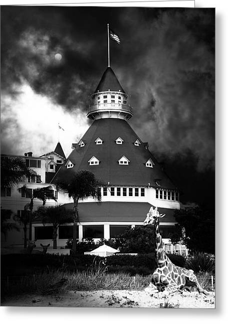 Coronado Island Greeting Cards - It Happened One Night At The Old Del Coronado Hotel 5D24270 black and white Greeting Card by Wingsdomain Art and Photography