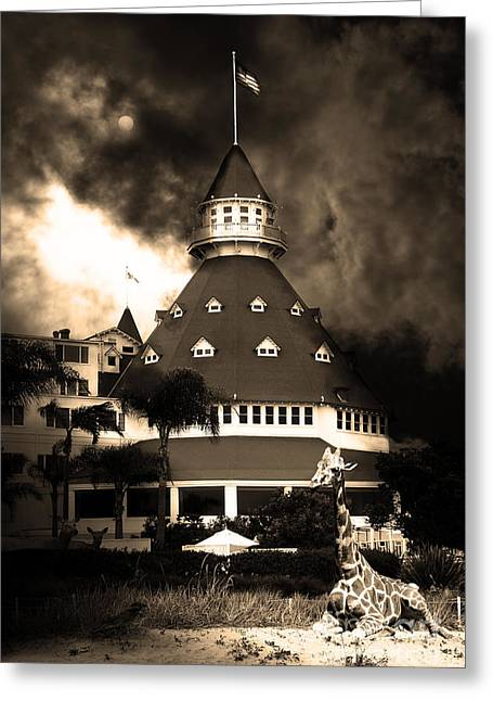 Coronado Island Greeting Cards - It Happened One Night At The Old Del Coronado Hotel 5D24270 sepia Greeting Card by Wingsdomain Art and Photography