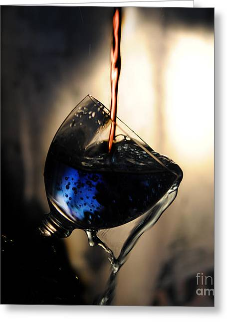 Wine Pooring Photographs Greeting Cards - It is Red and Blue Greeting Card by Randi Grace Nilsberg