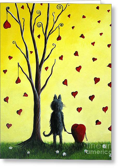 Surreal Cat Landscape Greeting Cards - It Must Be Love by Shawna Erback Greeting Card by Shawna Erback