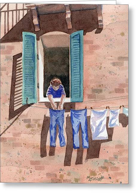 Washes Greeting Cards - It Must Be Monday Greeting Card by Marsha Elliott