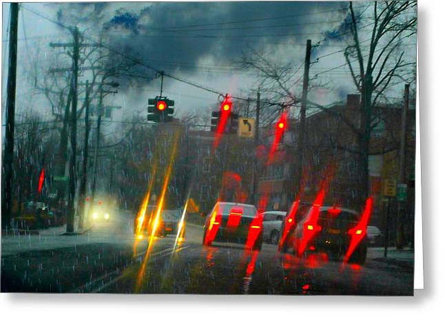Pouring Greeting Cards - Rainy Night in Rye Greeting Card by Diana Angstadt