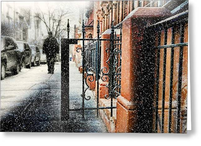 Snowy Day Greeting Cards - It Snows in Harlem Greeting Card by Diana Angstadt