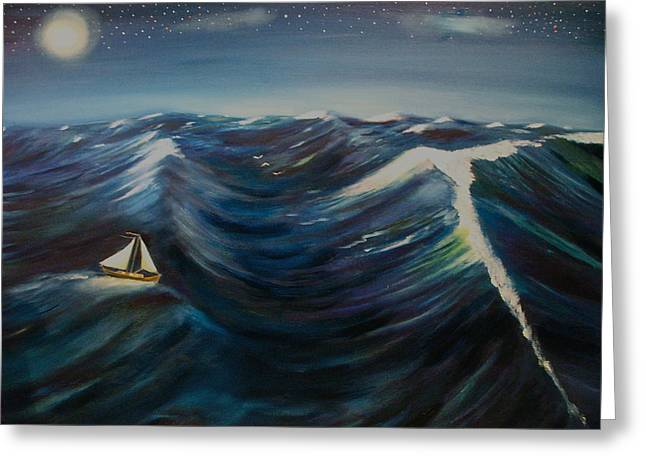 Seacape Paintings Greeting Cards - It started out lovely then Greeting Card by Frank B Shaner