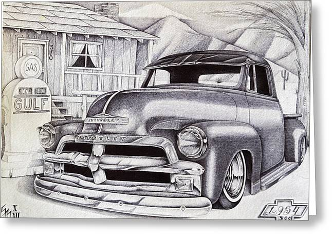 Classic Pickup Drawings Greeting Cards - It Was 1954 Greeting Card by Omar Boke