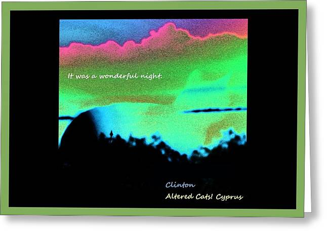 Advocacy Greeting Cards - It Was a Wonderful Night Green Altered Cats Cyprus Greeting Card by Anita Dale Livaditis