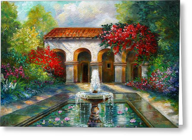 Garden Scene Greeting Cards - Italian Abbey garden scene with fountain Greeting Card by Gina Femrite