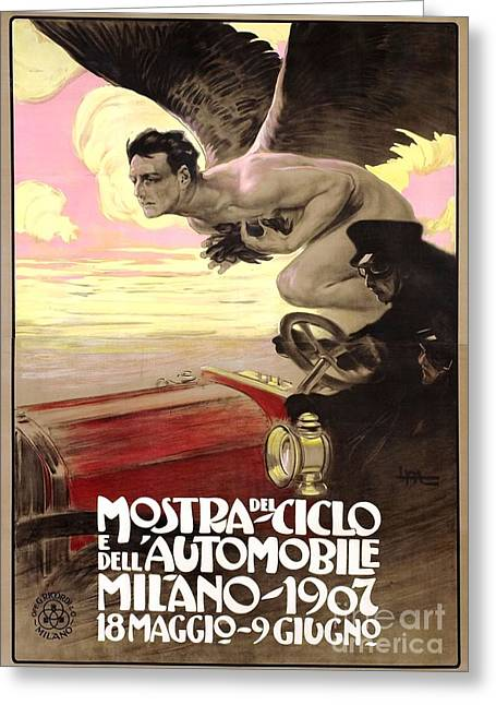 1907 Greeting Cards - Italian Auto Poster - 1907 Greeting Card by Pg Reproductions