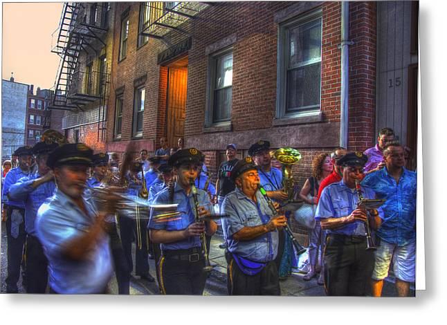 Italian-americans Greeting Cards - Italian Band - North End Boston Greeting Card by Joann Vitali