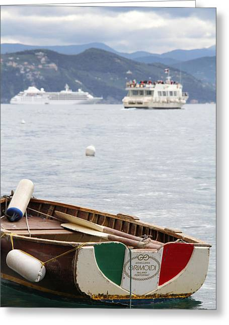 Portofino Italy Greeting Cards - Italian Boats Greeting Card by Nancy Ingersoll