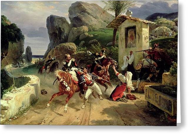 Italian Landscapes Greeting Cards - Italian Brigands Surprised by Papal Troops Greeting Card by Emile Jean Horace Vernet
