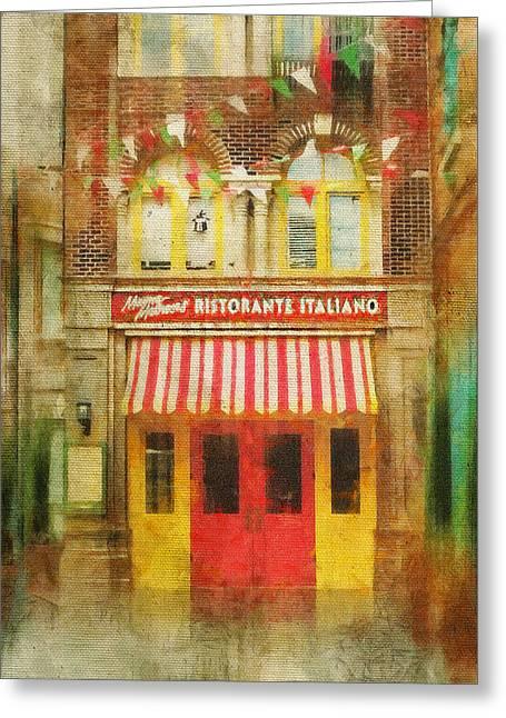Italian Restaurant Greeting Cards - Italian Cafe Greeting Card by Kathy Jennings