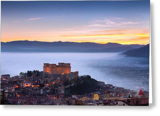 Nebbia Greeting Cards - Italian Castle at sunset  Greeting Card by Luca Montanari