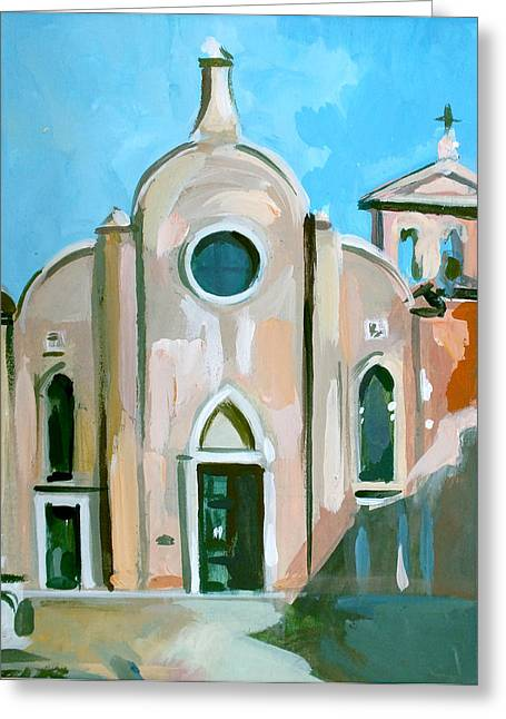 Italian Landscapes Mixed Media Greeting Cards - Italian Church Greeting Card by Filip Mihail