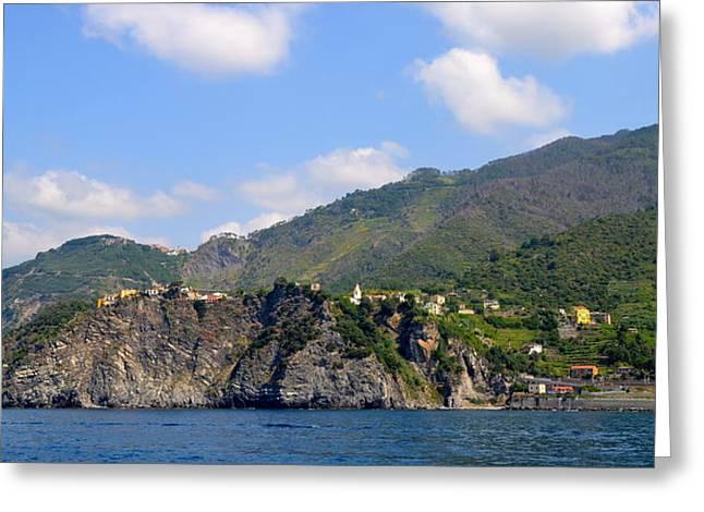 Grape Vine Greeting Cards - Italian Coastline Greeting Card by Corinne Rhode