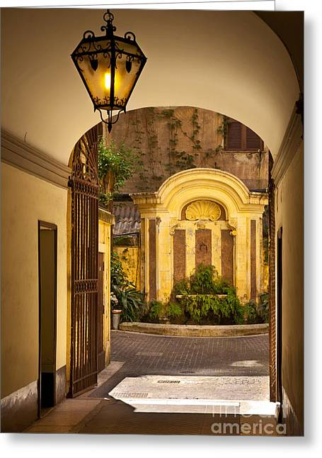 Entryway Greeting Cards - Italian Courtyard Greeting Card by Brian Jannsen