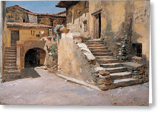 Dilapidated Paintings Greeting Cards - Italian Courtyard Greeting Card by Frank Duveneck