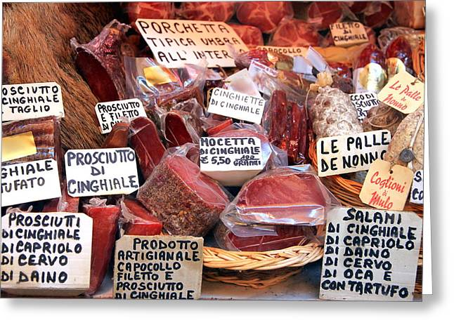 Deli Greeting Cards - Italian Cured Meats Greeting Card by Valentino Visentini