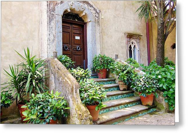 Italian Door And Staircase In Ravello Greeting Card by Marilyn Dunlap