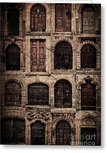 Facades Pyrography Greeting Cards - Italian doors. Greeting Card by Juan Nel