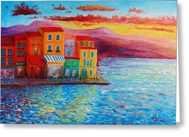 Buildings By The Sea Greeting Cards - Italian dream Greeting Card by Bozena Zajiczek-Panus