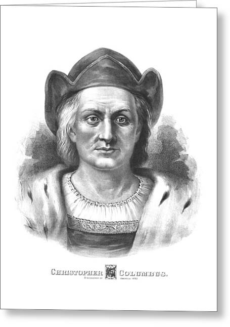 Maritime Drawings Greeting Cards - Italian Explorer Christopher Columbus Greeting Card by War Is Hell Store