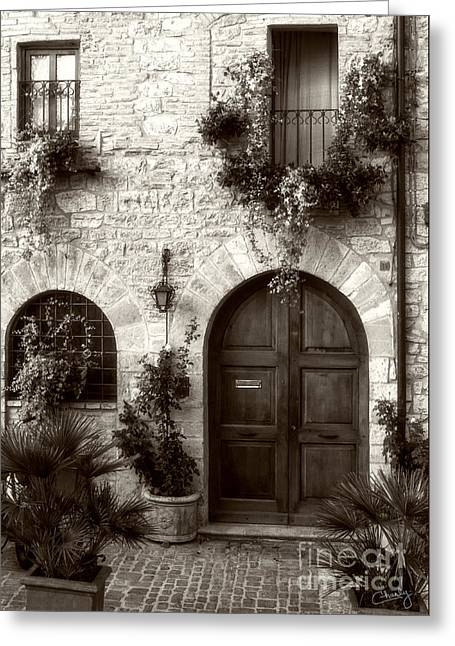 Charly Greeting Cards - Italian Facade of Assisi Greeting Card by Prints of Italy