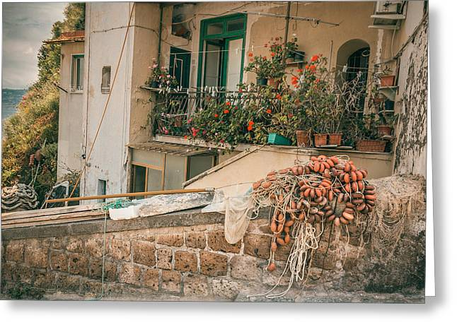 Italian Fishing Cottage Greeting Card by Chris Fletcher