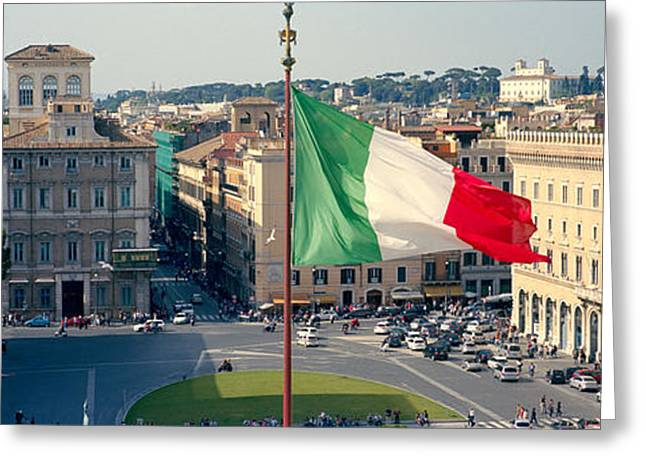 Fluttering Greeting Cards - Italian Flag Fluttering With City Greeting Card by Panoramic Images