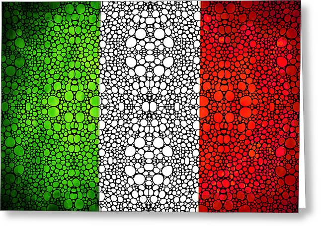 National Symbol Greeting Cards - Italian Flag - Italy Stone Rockd Art By Sharon Cummings Italia Greeting Card by Sharon Cummings