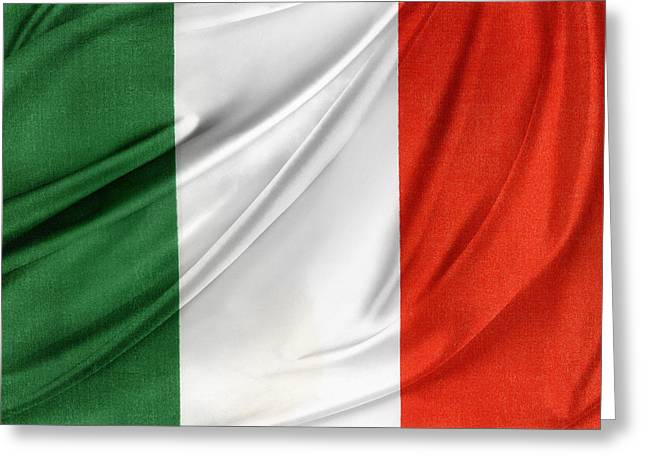 Textile Photographs Photographs Greeting Cards - Italian flag  Greeting Card by Les Cunliffe