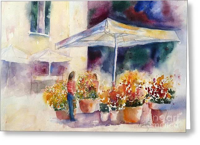 Italian Market Paintings Greeting Cards - Italian Flower Market Greeting Card by Carolyn Jarvis