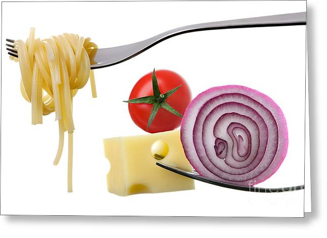 Spaghetti Greeting Cards - Italian Food Ingredients On Forks Against White Greeting Card by Lee Avison
