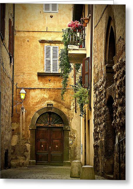 Italian Street Greeting Cards - Italian Front Door Greeting Card by Lynn Andrews