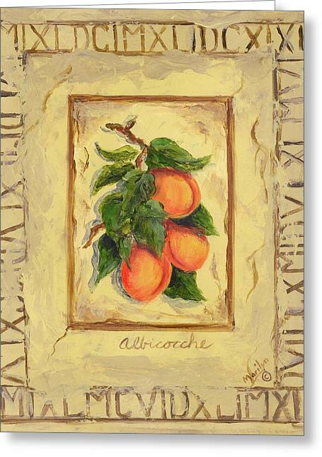 Apricots Paintings Greeting Cards - Italian Fruit Apricots Greeting Card by Marilyn Dunlap