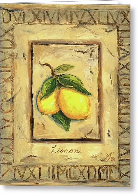 Lemon Art Paintings Greeting Cards - Italian Fruit Lemons Greeting Card by Marilyn Dunlap