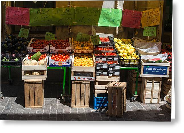Greengrocer Greeting Cards - Italian greengrocer Greeting Card by Frank Gaertner