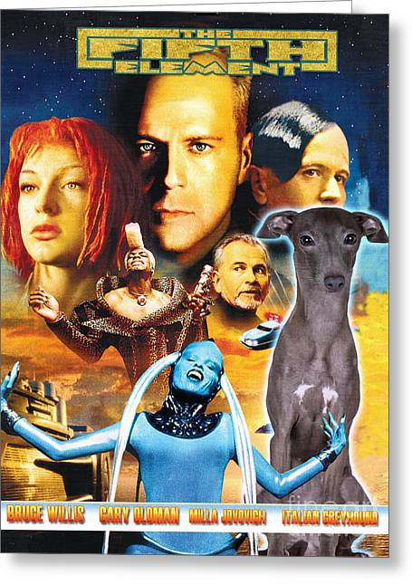 Greyhound Dog Greeting Cards - Italian Greyhound Art Canvas Print - The Fifth Element Movie Poster Greeting Card by Sandra Sij