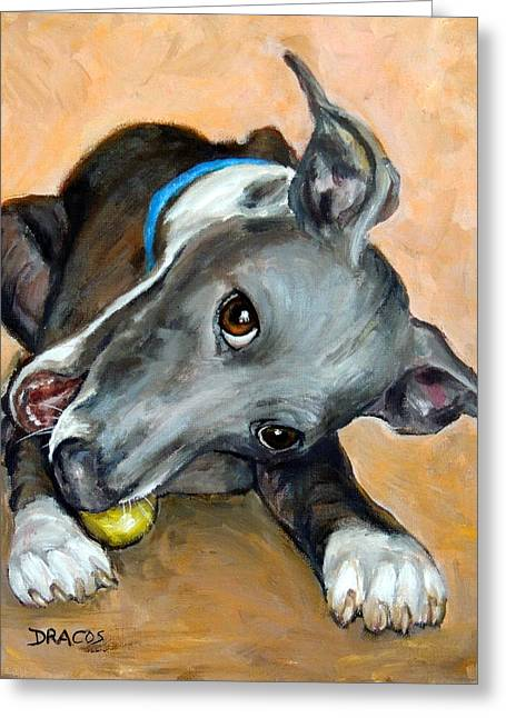 Dog With Tennis Ball Greeting Cards - Italian Greyhound with Ball Greeting Card by Dottie Dracos