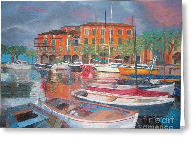 Docked Boats Pastels Greeting Cards - Italian Harbor Greeting Card by Jackie Massman